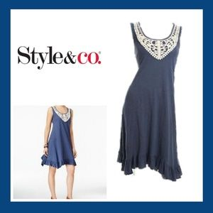 Blue Ruffle Hem Crotchet Trim Dress